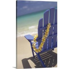 Canvas Beach Chair Rosewood Chairs Singapore Greatbigcanvas 20 In X 30 Blue With Plumeria Lei Hanging On Side By Dana Edmunds Wall Art