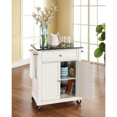 Crosley Kitchen Island Counter Covers White Cart With Black Granite Top Kf30024ewh The