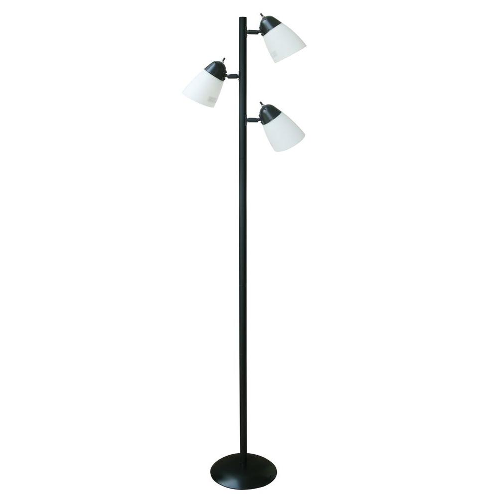 Hampton Bay 645 in Black Track Tree Floor Lamp with 3