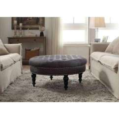 Ottoman Tables Living Room Wooden Sofa Designs For Small Round Ottomans Furniture The Home Depot Isabelle Charcoal Accent