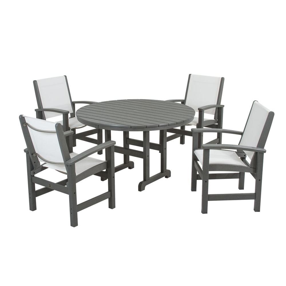 Chair Slings Polywood Coastal Slate Grey All Weather Plastic Dining Set In White Slings