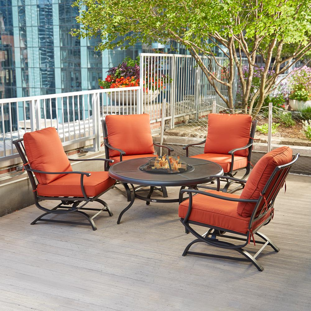 metal patio chair fishing malaysia hampton bay redwood valley 5 piece fire pit seating set with quarry red