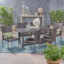 Noble House Chase Multi-brown 7-piece Wicker Outdoor