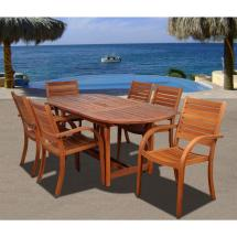 Arizona Oval 7-piece Eucalyptus Patio Dining Set