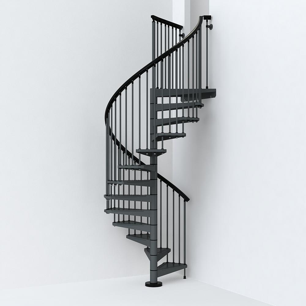 Sky030 55 In Iron Grey Spiral Staircase Kit K26286 The Home Depot   Iron Spiral Staircase For Sale   Round   Abandoned   Antique   Grey Exterior   Loft