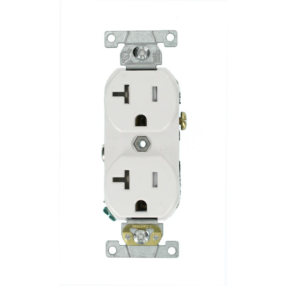 hight resolution of leviton 20 amp commercial grade tamper resistant side wired self grounding duplex outlet white