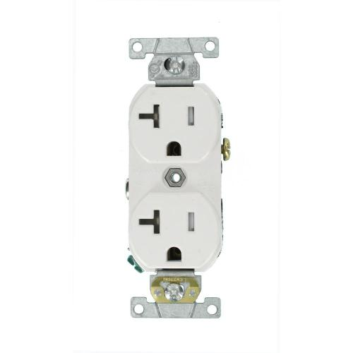 small resolution of leviton 20 amp commercial grade tamper resistant side wired self grounding duplex outlet white