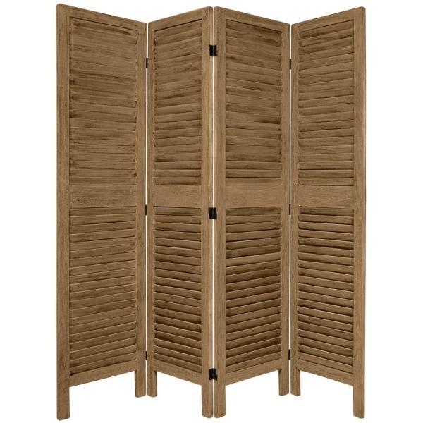 Oriental Furniture 5 1 2 Ft. Tall Burnt Grey Venetian 4-panel Room Divider-fj-ven-4p-bgry