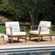 Noble House Teak Finish Wood Outdoor Lounge Chairs With