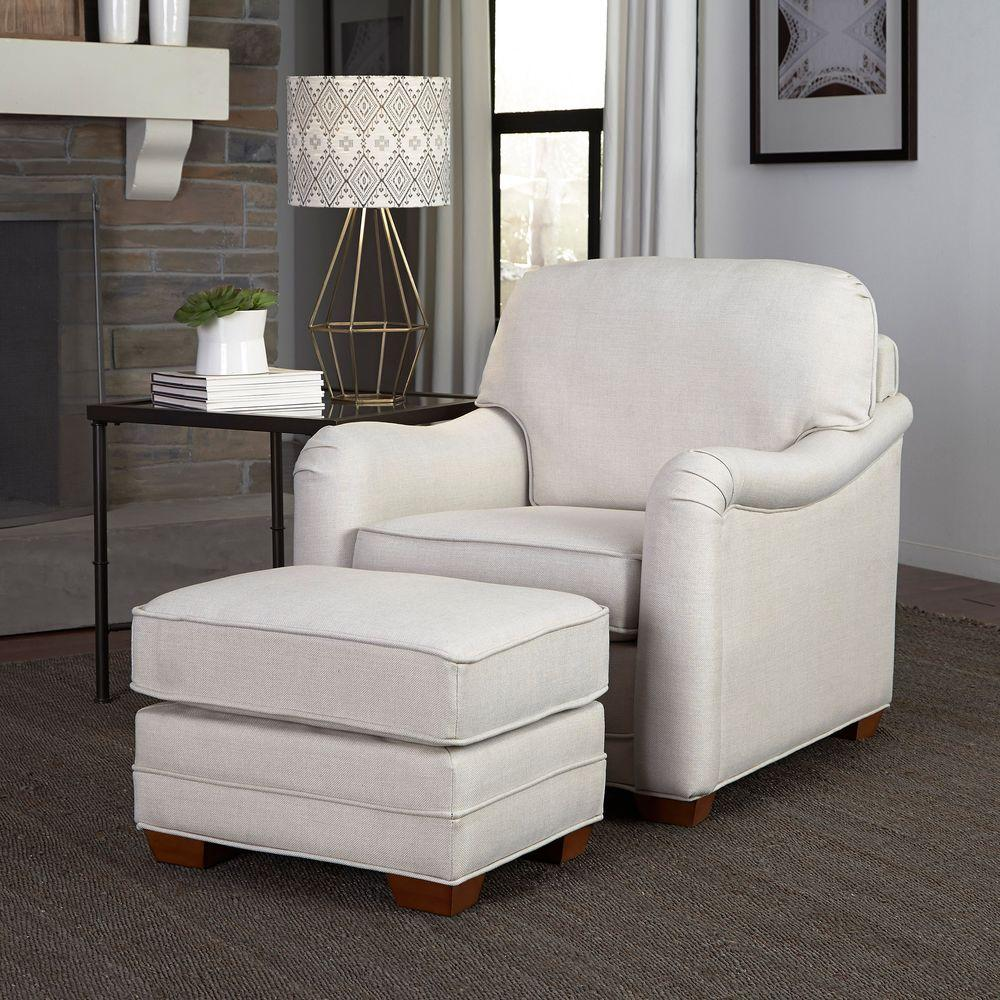 chairs and ottomans upholstered hanging chair outdoor australia home styles heather off white arm with ottoman 5205 100 the