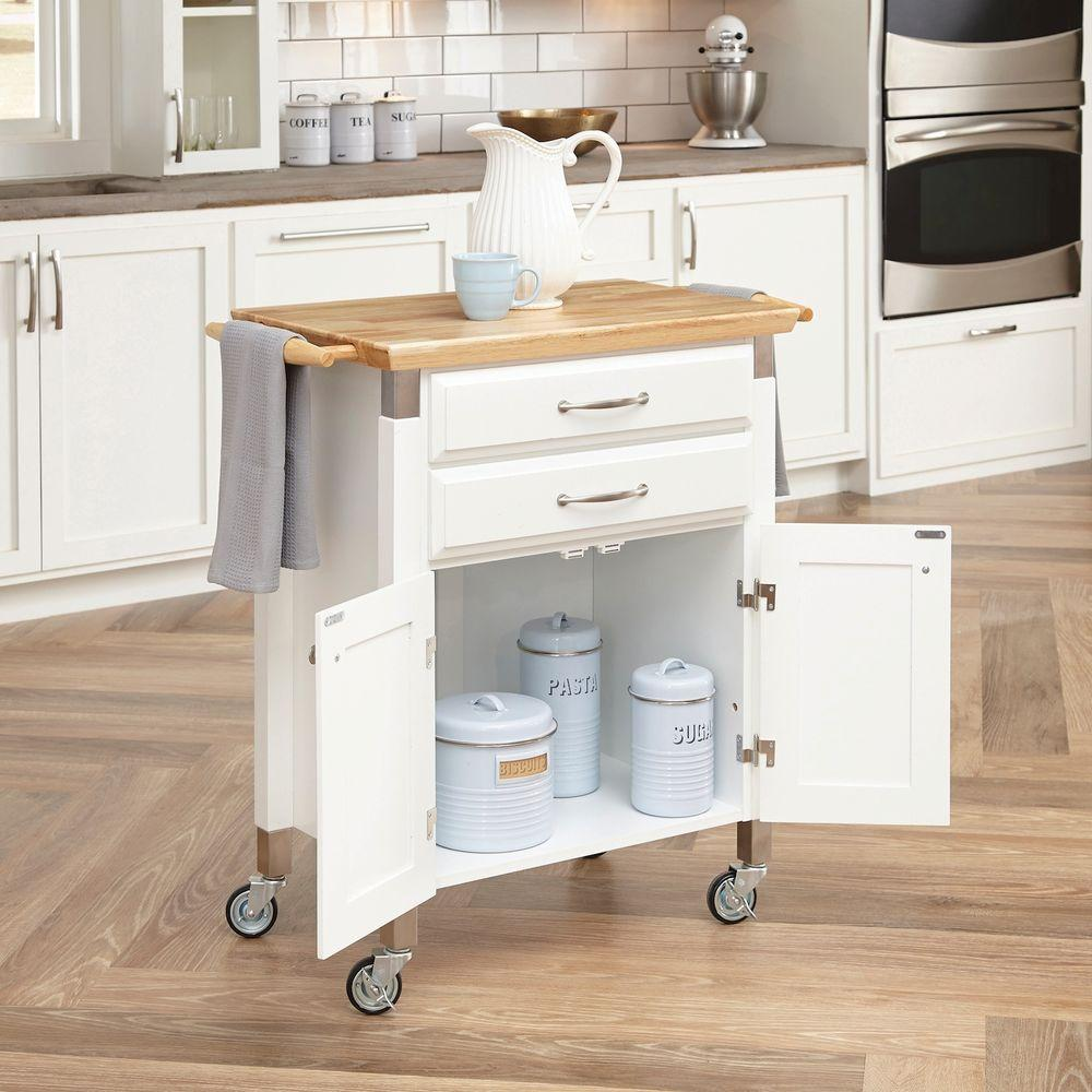 home styles kitchen cart knife sharpening dolly madison white with natural wood top