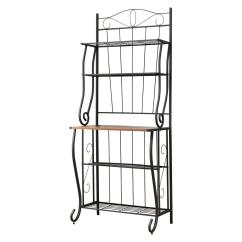 Bakers Racks For Kitchen Ikea Table And Chairs Kb Furniture Black Walnut 5 Tier Rack Storage 5203k