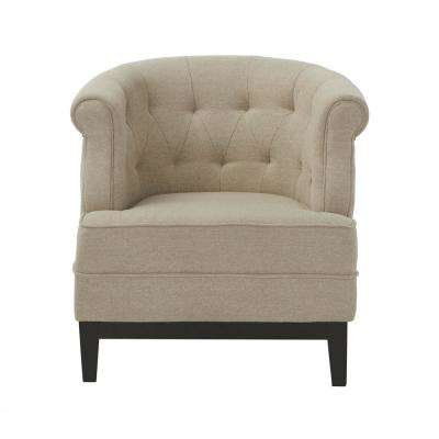cheap accent chair carved african birthing home decorators collection chairs the depot emma textured natural fabric arm