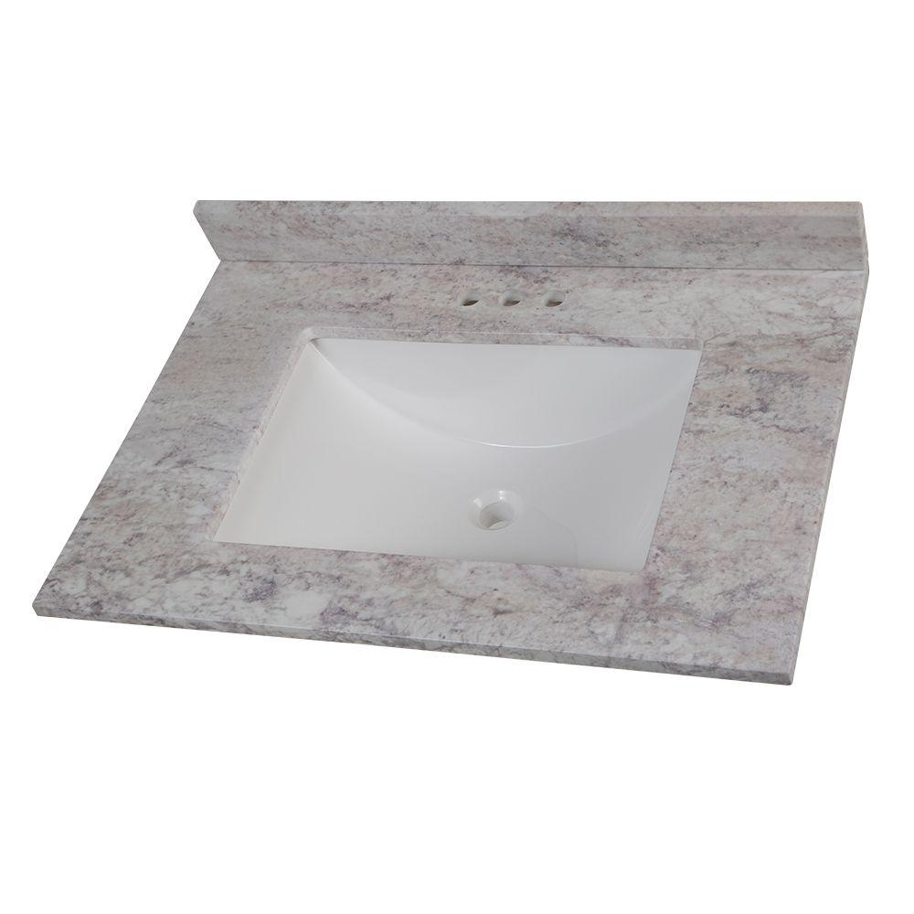 Bathroom Vanity Top With Sink Home Decorators Collection 31 In W Stone Effects Vanity Top In Winter Mist With White Sink