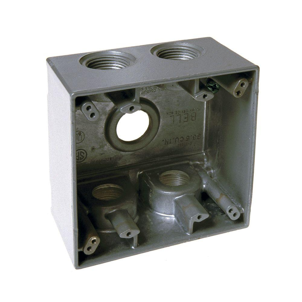 hight resolution of bell gray 2 gang weatherproof deep box with five 3 4 in threaded