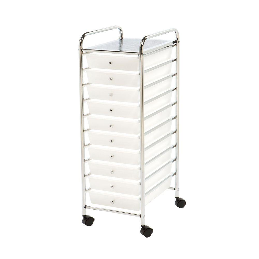 Seville Classics 10-Drawer Steel Organizer Cart in Frosted