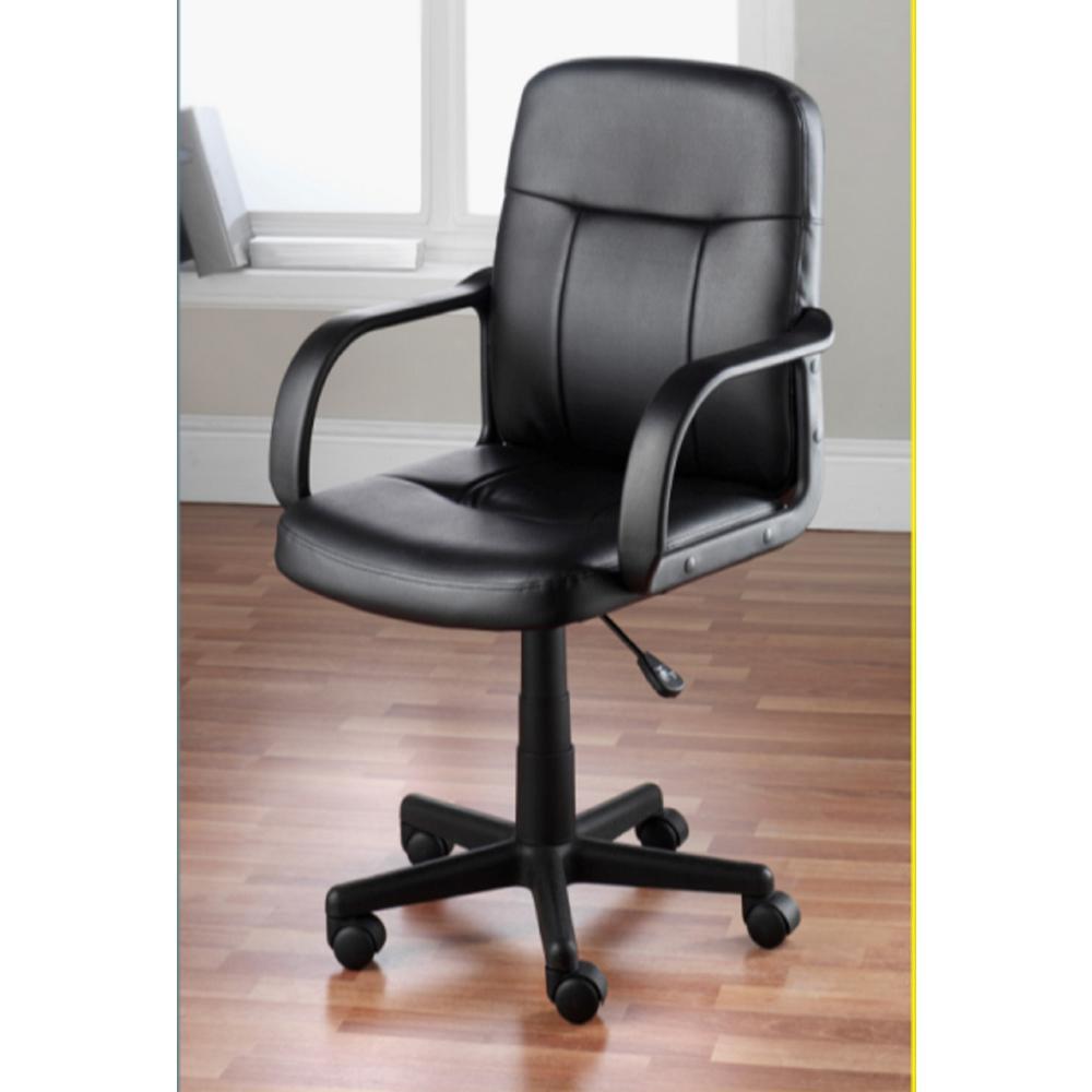 Hodedah Black PU Leather Mid Back Office ChairHI1011