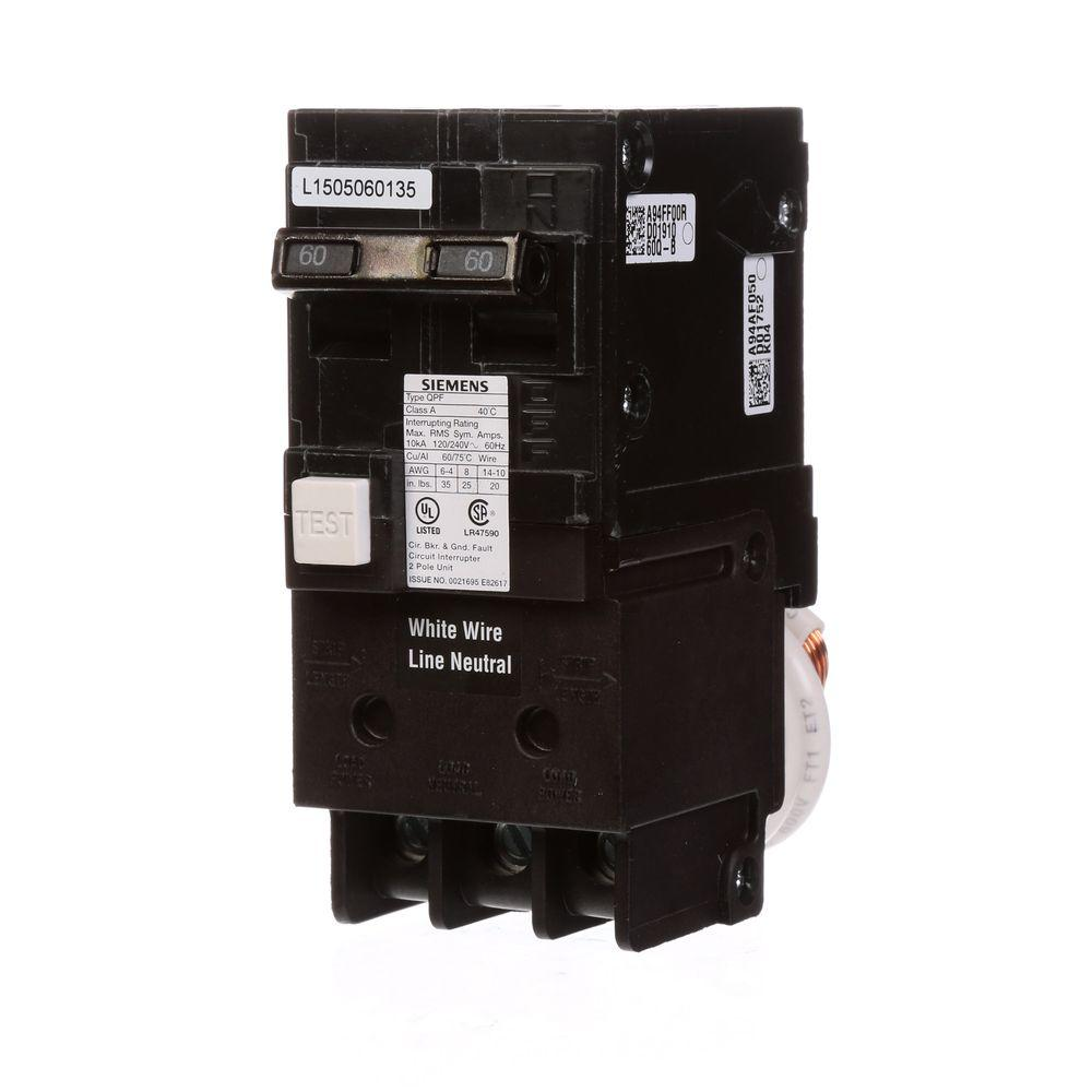 medium resolution of siemens 60 amp double pole type qpf gfci circuit breaker