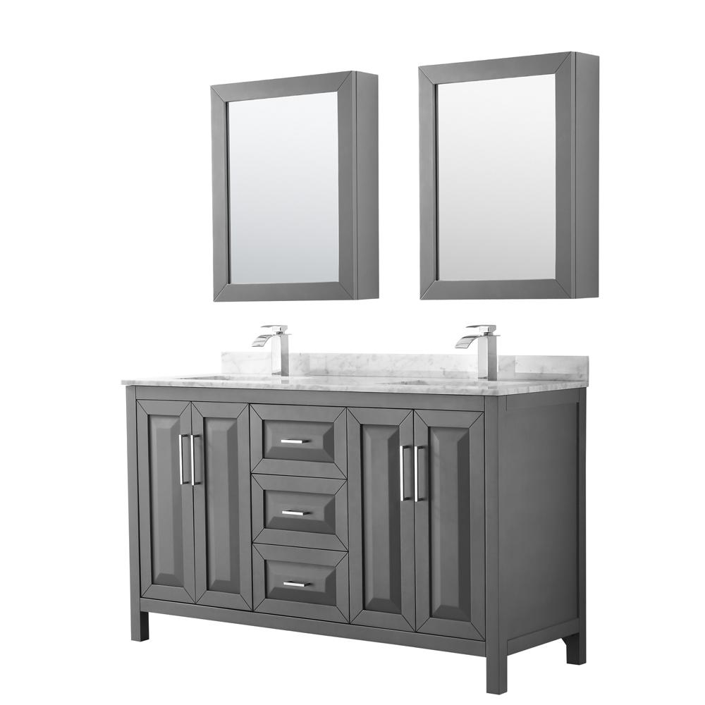 Dark Bathroom Vanity Wyndham Collection Daria 60 In Double Bathroom Vanity In Dark Gray With Marble Vanity Top In Carrara White And Medicine Cabinets