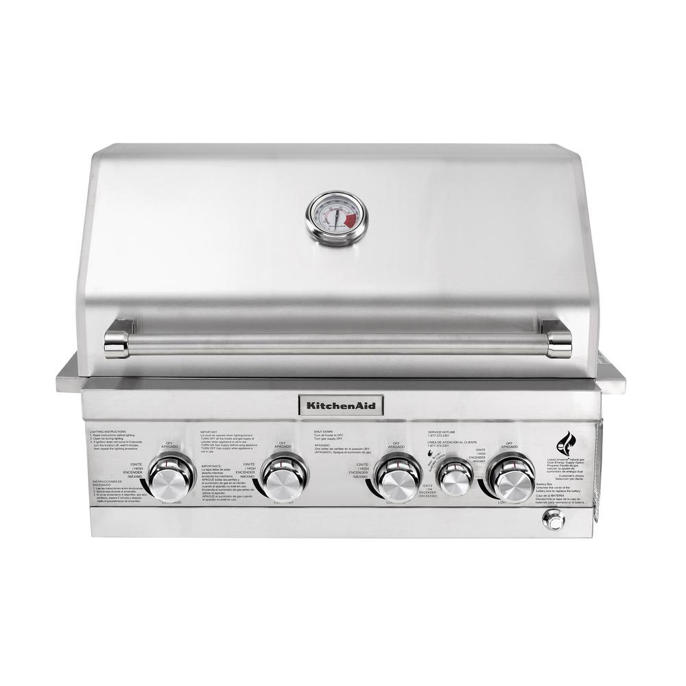 kitchen aid gas grills refinishing cabinets white kitchenaid 4 burner built in propane island grill head stainless steel with rotisserie