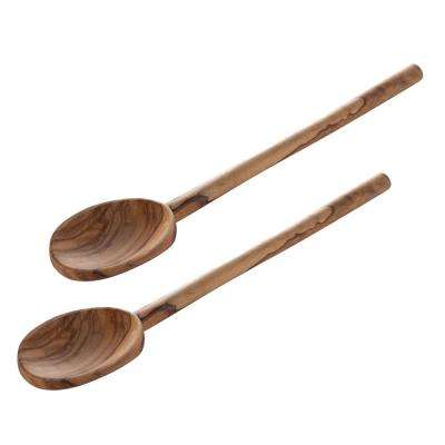 kitchen spoons bakers racks for wood ladles utensils the home depot olive mixing set of 2