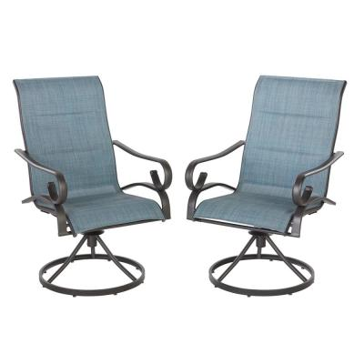 home depot lounge chairs folding outdoor use patio the hampton bay crestridge padded sling swivel chair in conley denim 2 pack