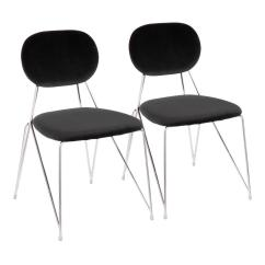 Black Side Chair Timothy Oulton Mimi Lumisource Gwen Stainless Steel With Velvet Set Of 2 Ch Bk2 The Home Depot