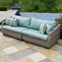 RST Brands Cannes 2-Piece Patio Sofa with Bliss Blue ...