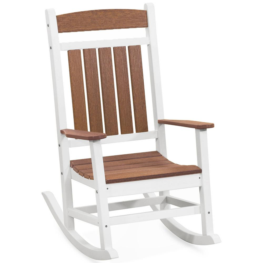 Classic Chair Durogreen Classic Rocker White And Antique Mahogany Plastic Outdoor Rocking Chair