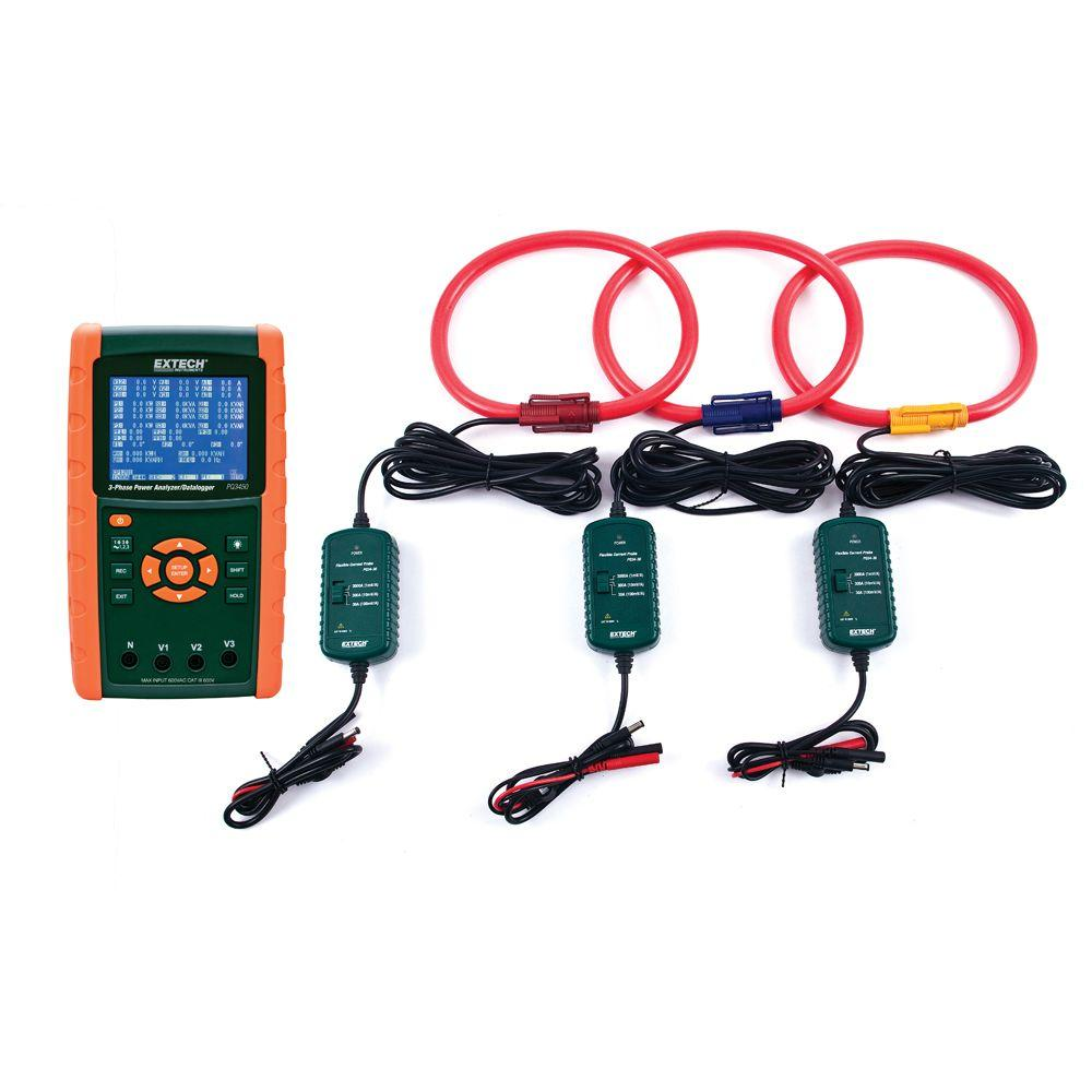 medium resolution of extech instruments 3000 amp 3 phase power analyzer data logger kit