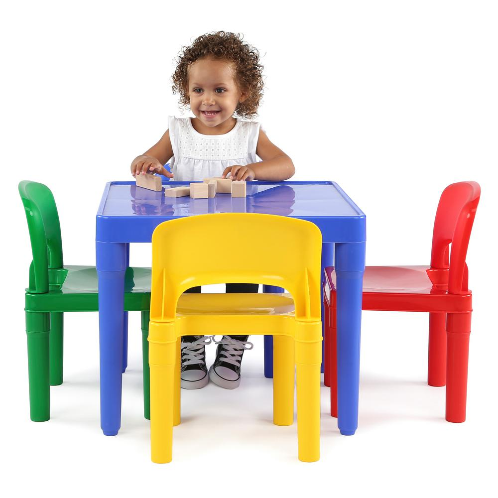 Boys Chair Tot Tutors Playtime 5 Piece Primary Colors Kids Plastic Table And
