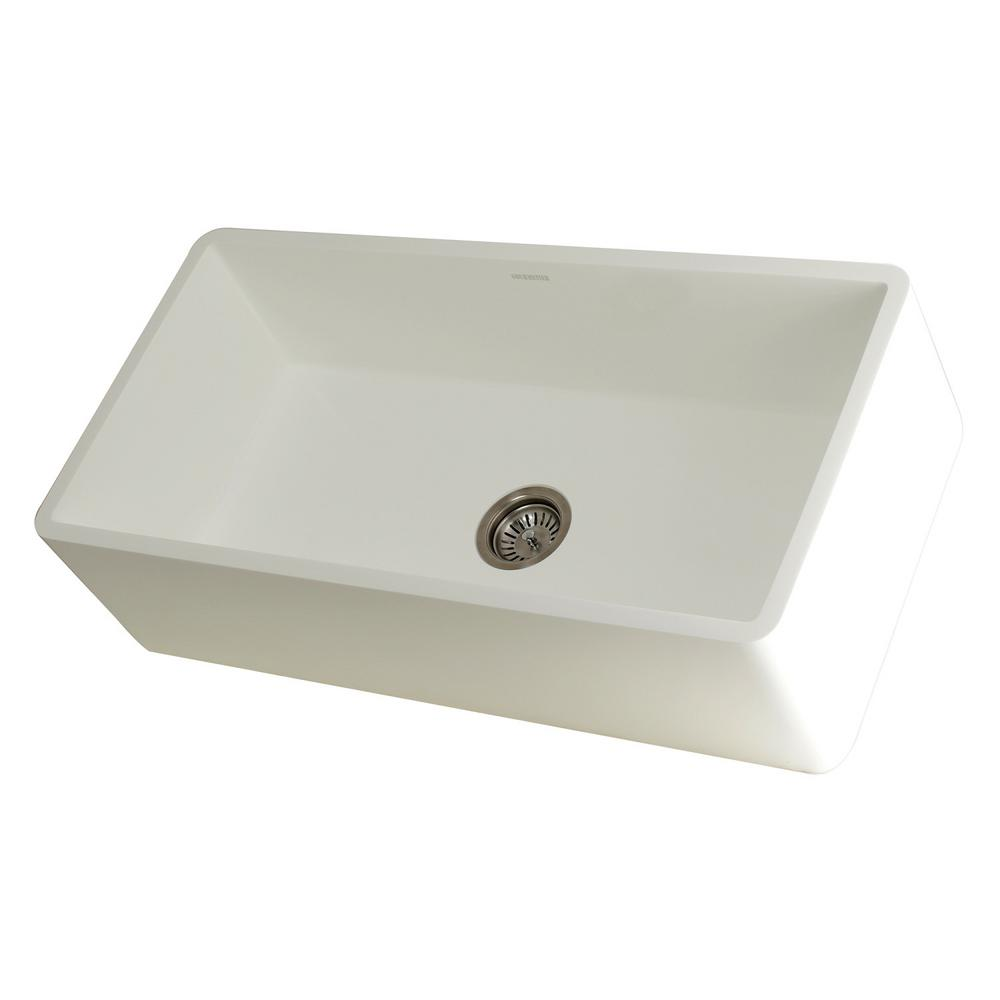 stone kitchen sink pegboard kingston brass hannah farmhouse solid surface white 36 in single bowl
