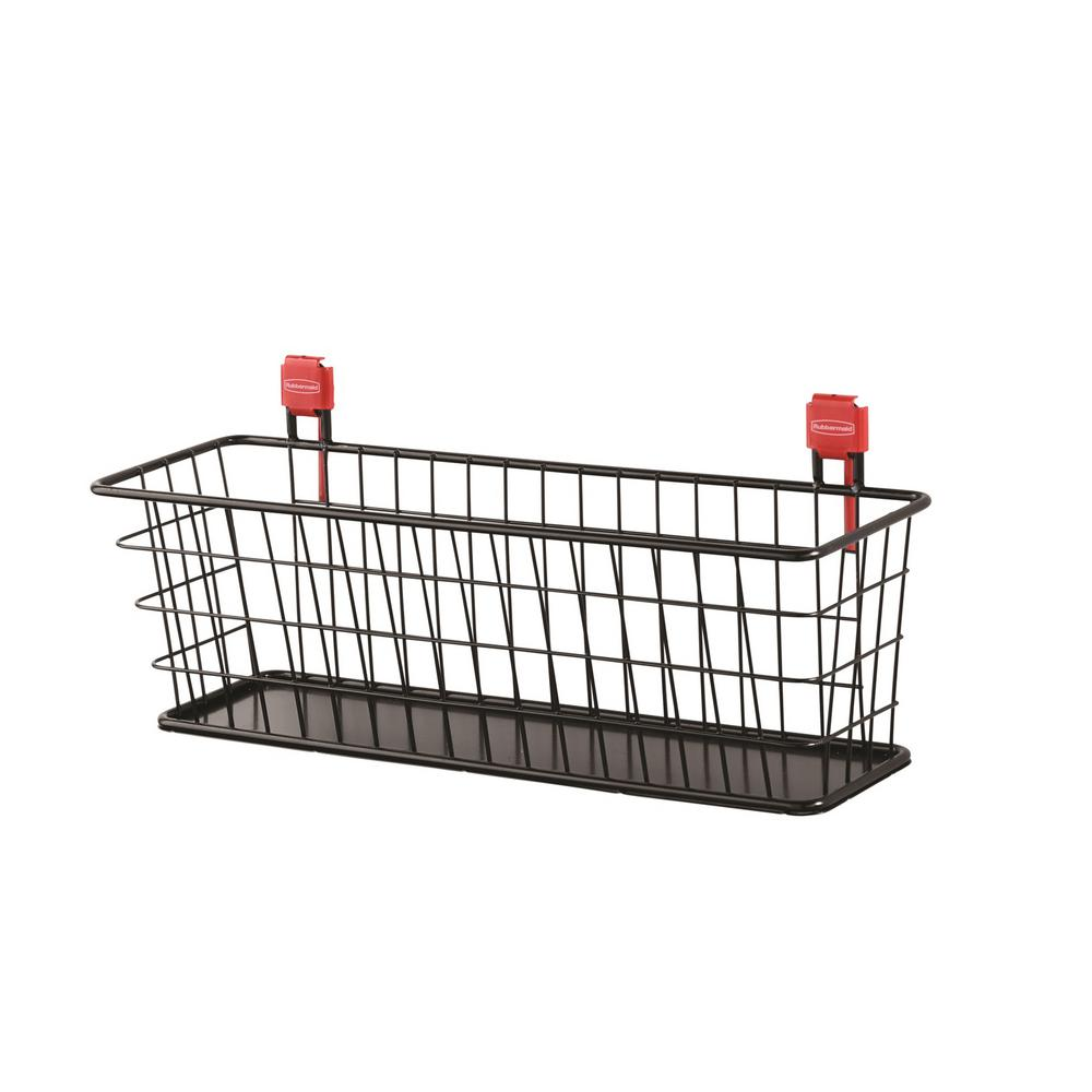 Black Shed Wire Basket Small Metal Wall Mount Storage