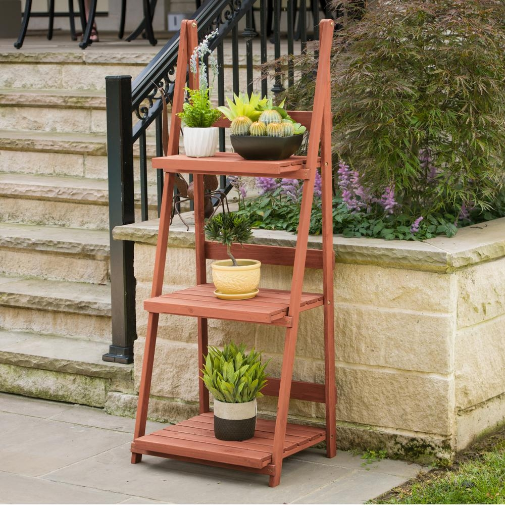 Leisure Season 24 In X 18 In X 60 In 3 Tier A Frame Plant Stand | Outdoor Wood Steps Home Depot | Treated Wood | Handrail | Spiral Staircase | Staircase | Concrete Steps