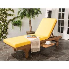 Teak Lounge Chair Comfortable Executive Safavieh Newport Brown Outdoor Patio Chaise With Yellow Cushion