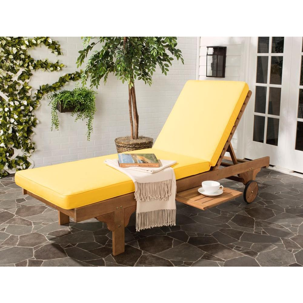 Teak Chaise Lounge Chairs Safavieh Newport Teak Brown Outdoor Patio Chaise Lounge Chair With Yellow Cushion