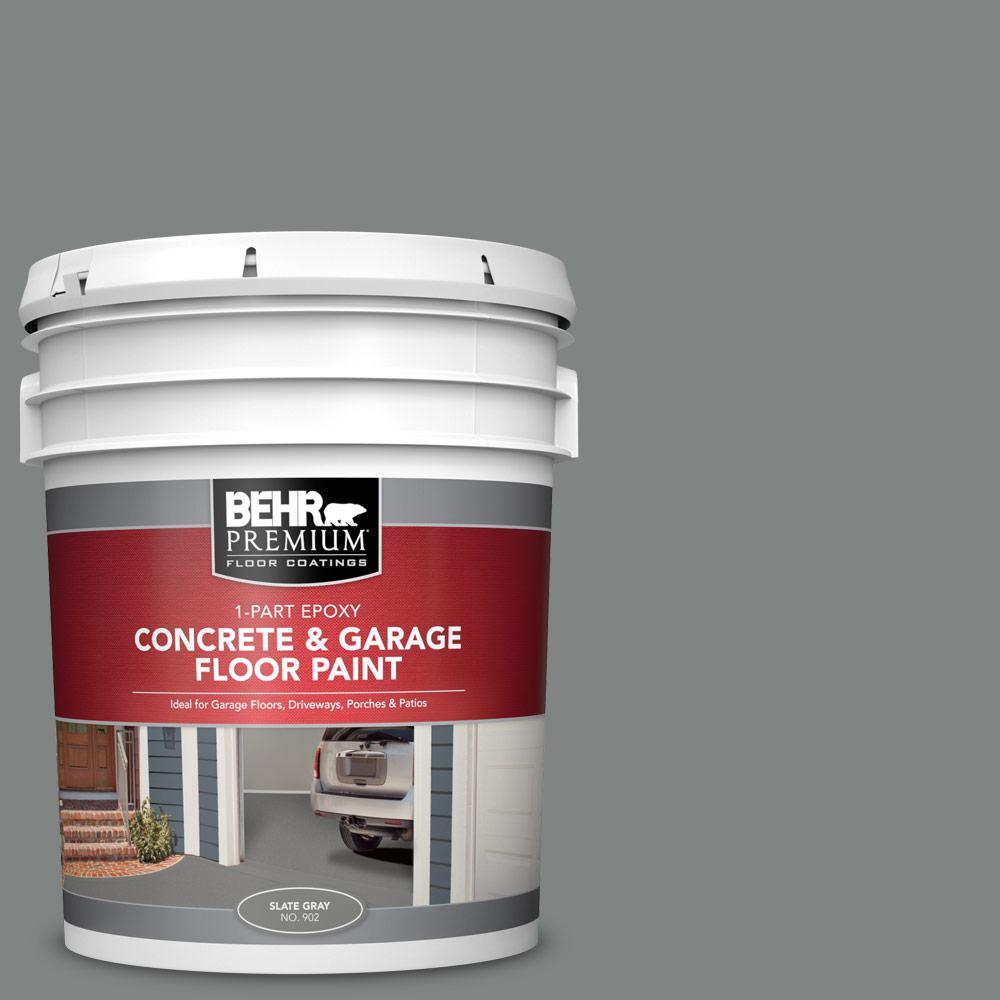 Behr Premium 5 Gal Slate Gray Self Priming 1 Part Epoxy Satin Interior Exterior Concrete And Garage Floor Paint 90205 The Home Depot