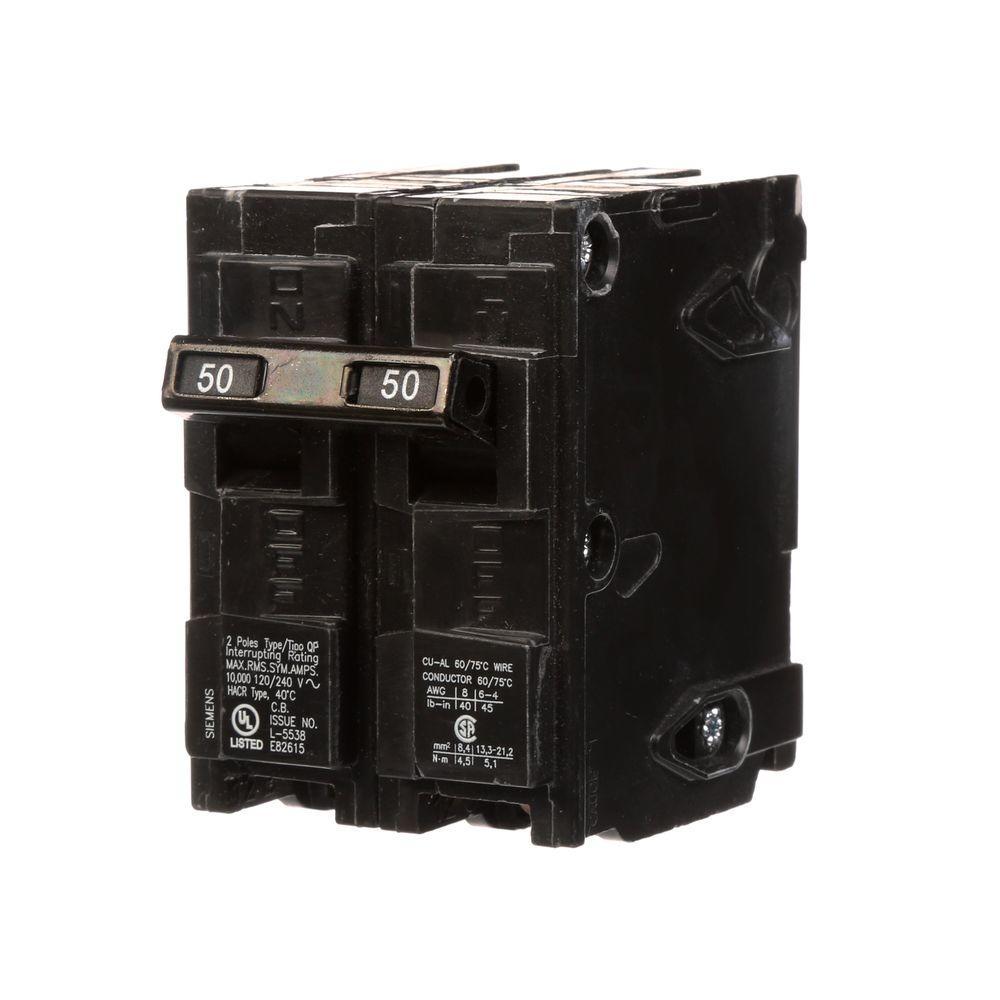 medium resolution of siemens 50 amp double pole type qp circuit breaker