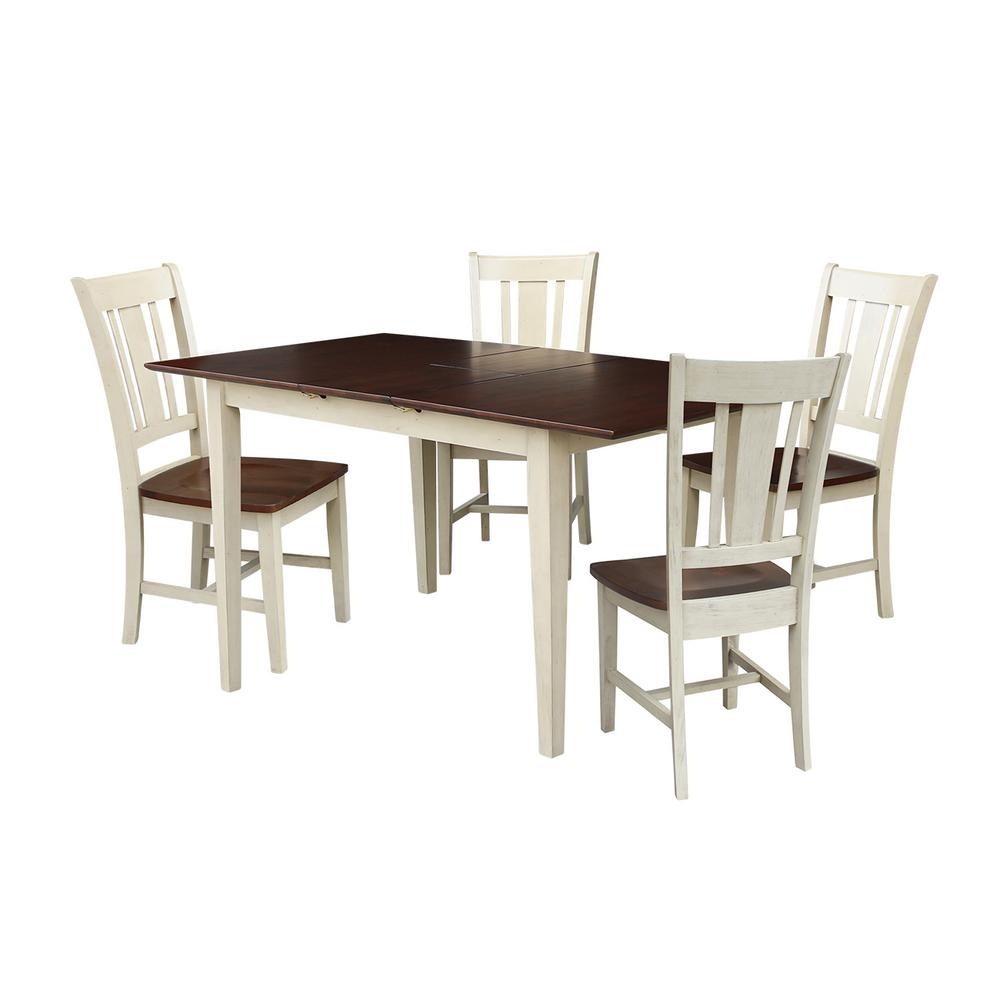 rubberwood butterfly table with 4 chairs accent chair ottoman international concepts leah 5 piece almond and espresso dining set extentsion san remo