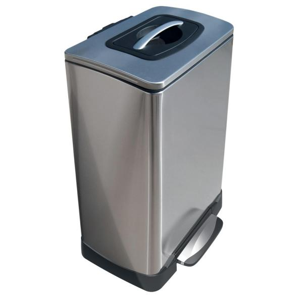 Household Essentials 10 Gal. Tk Krusher Step Bin With Soft Close In Stainless Steel-tk10