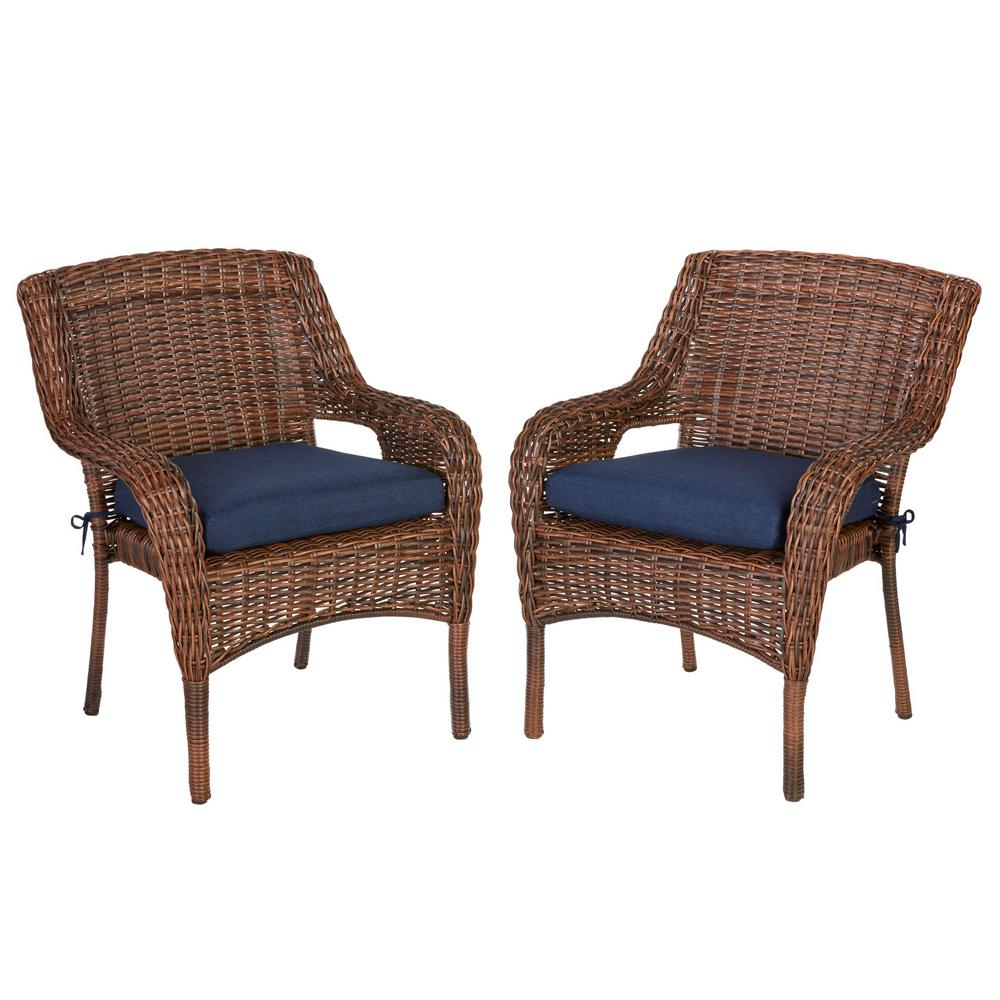 Outdoor Wicker Dining Chairs Hampton Bay Cambridge Brown Wicker Outdoor Dining Chair With Blue Cushion 2 Pack