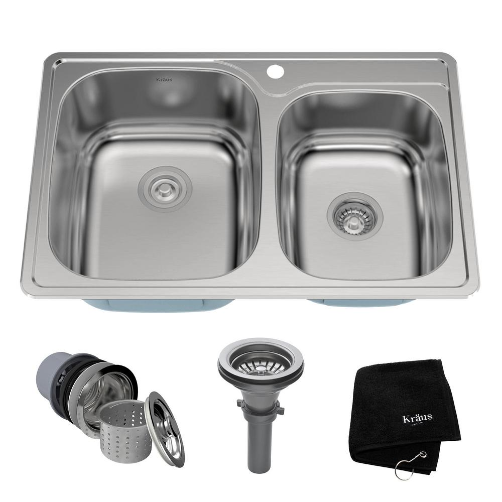 60 40 kitchen sink brand new cost kraus drop in stainless steel 33 1 hole double bowl kit