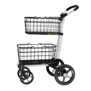 Folding Aluminum Cleaning Cart with Removable Baskets