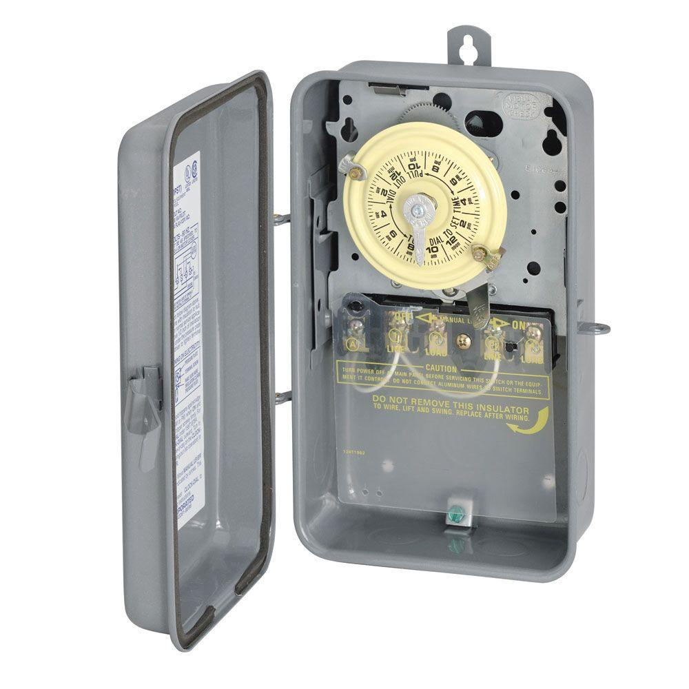 hight resolution of intermatic t104r 40 amp 208 277 volt dpst 24 hour mechanical time switch with outdoor enclosure t104rd89 the home depot