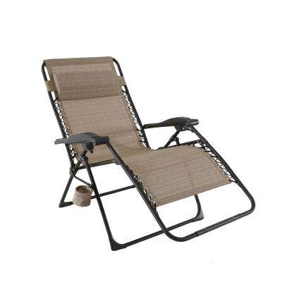 folding outdoor lounge chair fabric covered office chairs chaise lounges patio the home depot mix and match oversized zero gravity sling in cafe