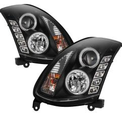 spyder auto infiniti g35 03 07 2dr projector headlights xenon hid model only [ 1000 x 1000 Pixel ]