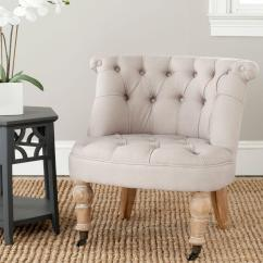 White Tufted Chair Target Cushions Kitchens Safavieh Carlin Taupe Linen Accent Mcr4711b The Home