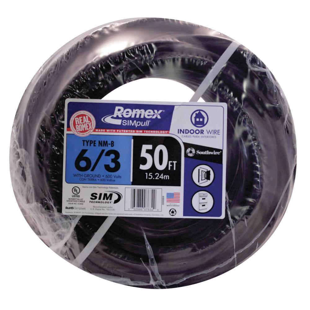 medium resolution of southwire 50 ft 6 3 stranded romex simpull cu nm b w