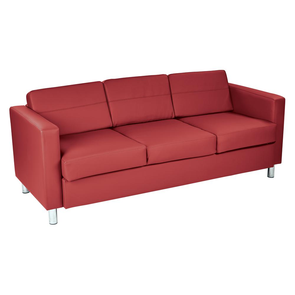 sofa box 2 seater covers osp home furnishings pacific dillon lipstick vinyl couch with spring seats and silver color