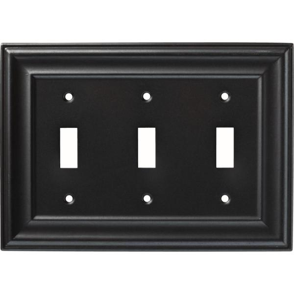 Liberty Winslow Triple Switch Wall Plate Soft Iron-w36428